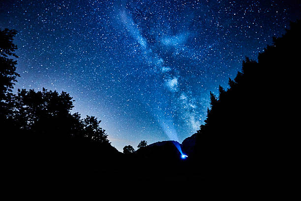 the milky way on the sky in the night time - sternhaufen stock-fotos und bilder