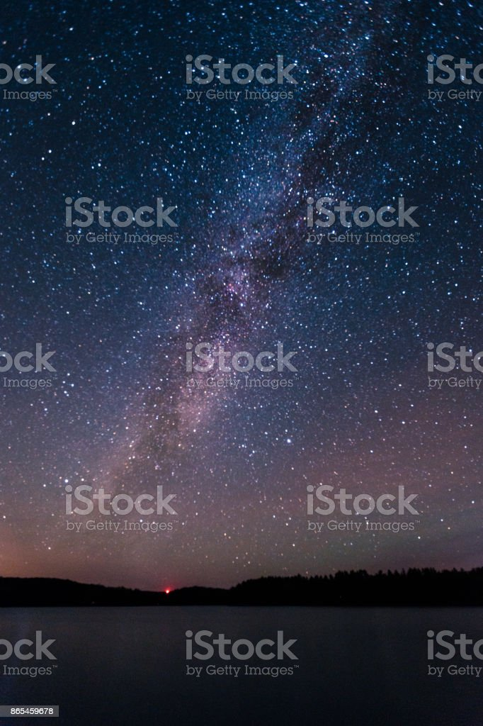 The Milky Way over an island stock photo