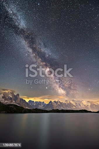 The Milky way over Mont Blanc mountain range at lac de chesery