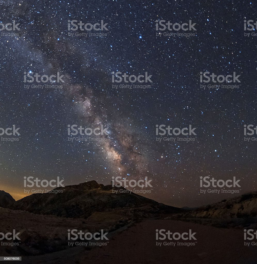 The milky way over the road royalty-free stock photo
