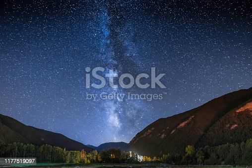 Sky with a set of stars that form the Milky Way galaxy