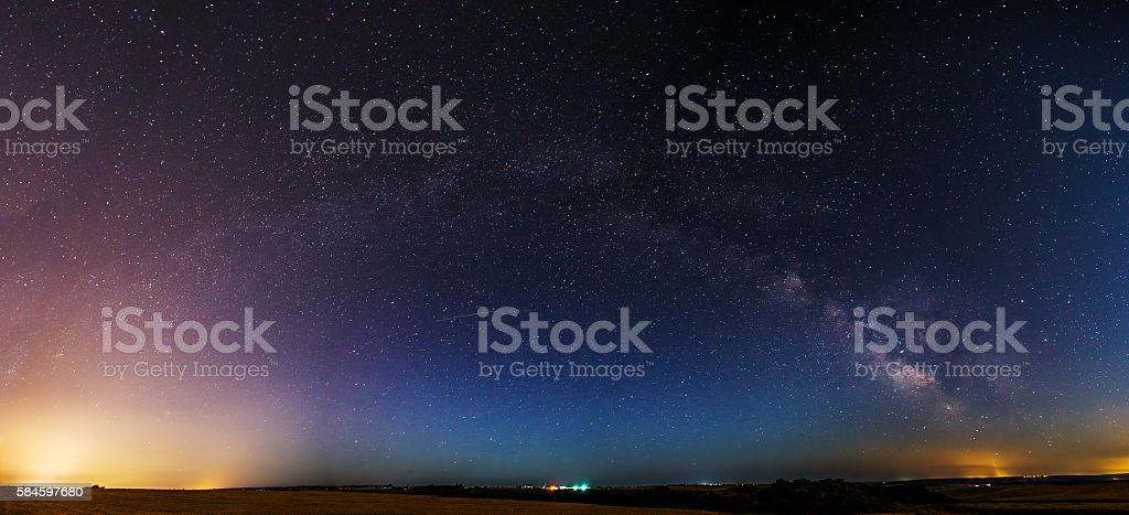 The milkyway galaxy. Processed by stacking multiple exposure stock photo