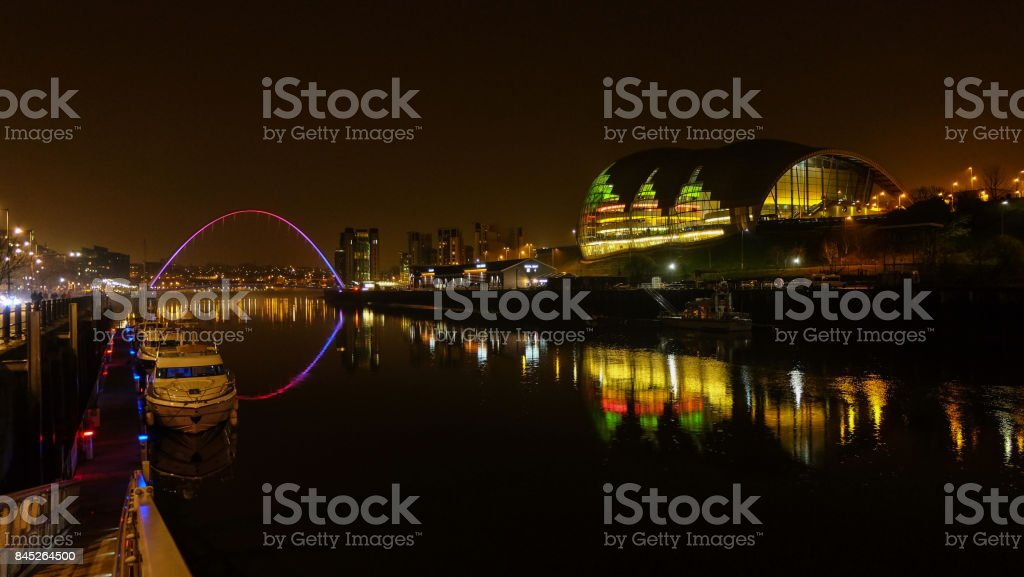 The Millennium Bridge at night, Newcastle stock photo
