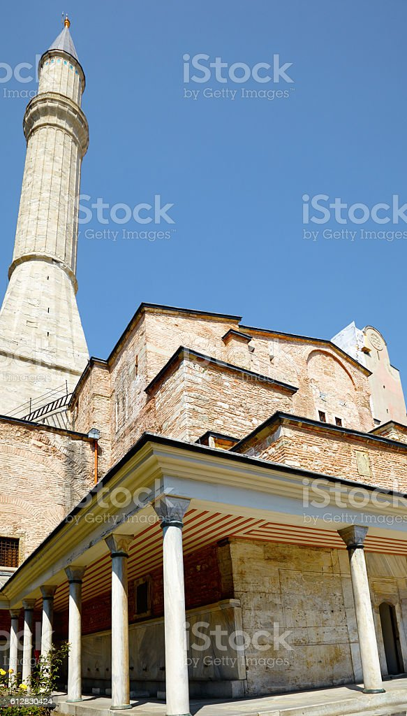 The minaret of Hagia Sophia, Istanbul stock photo