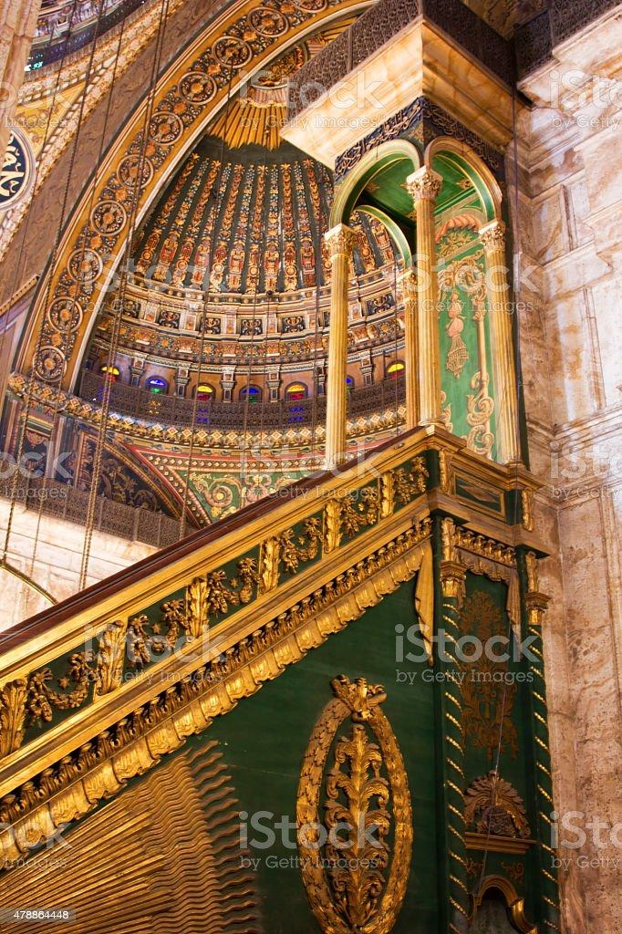 The Minbar , Mosque of Muhammad Ali . Inside view stock photo