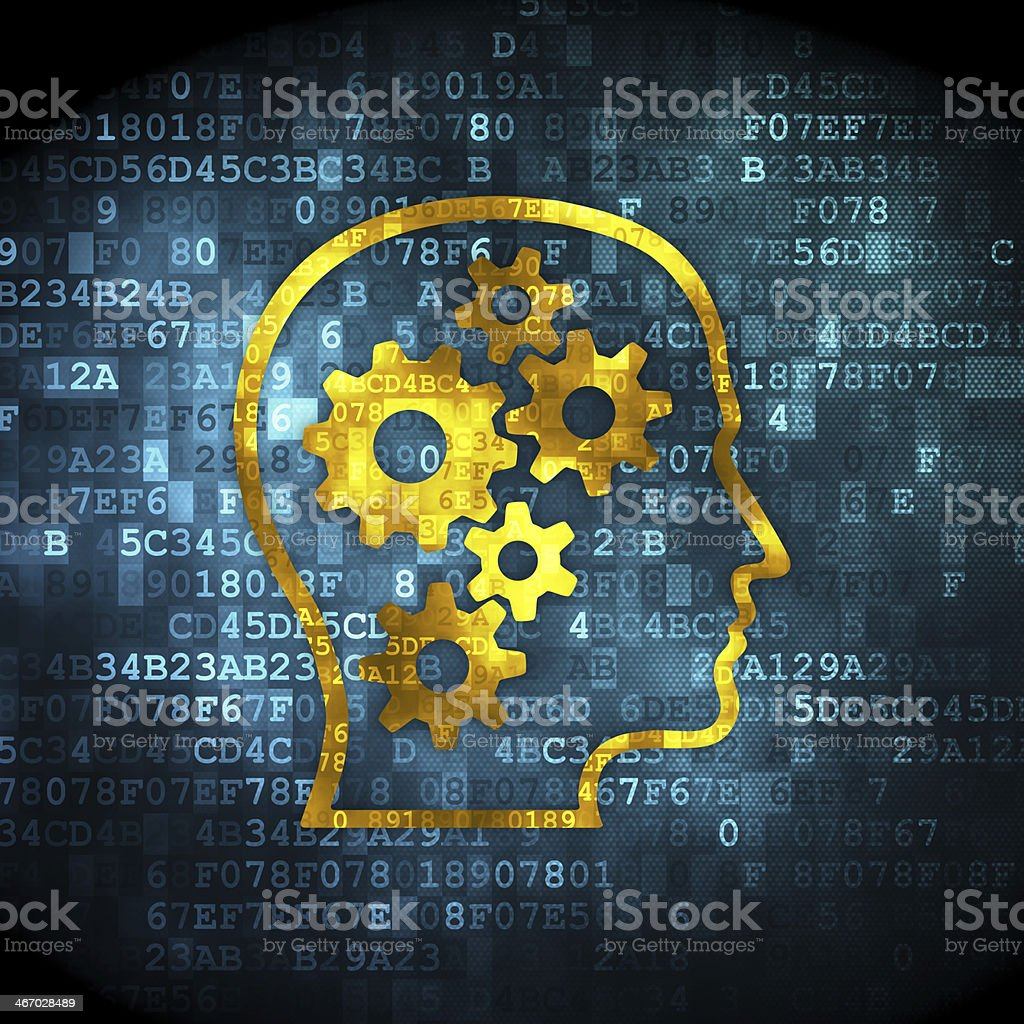 The mind working mechanically through cogs and gears stock photo