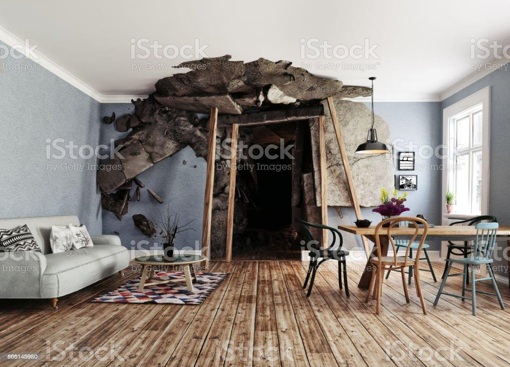 the mine interior stock photo