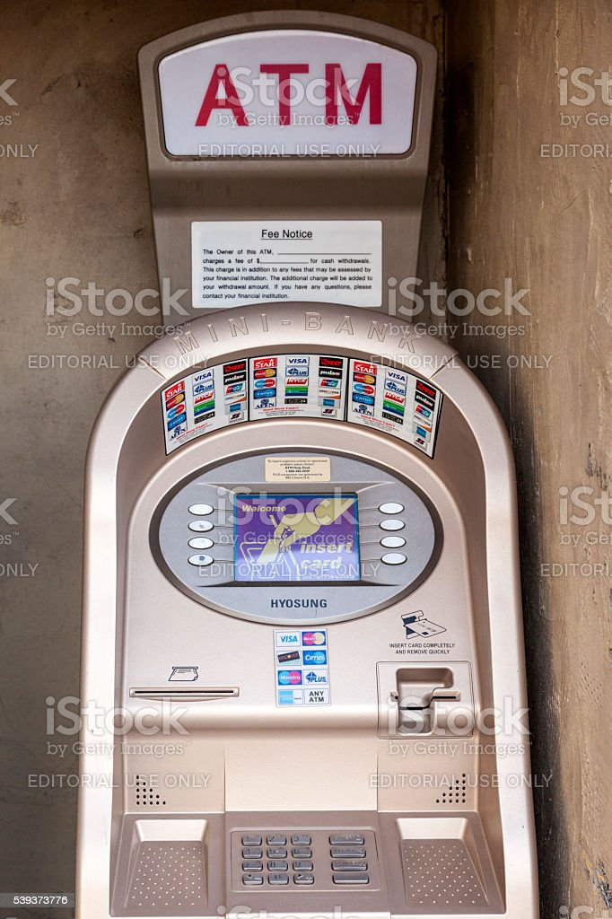 The Mini Bank ATM stock photo
