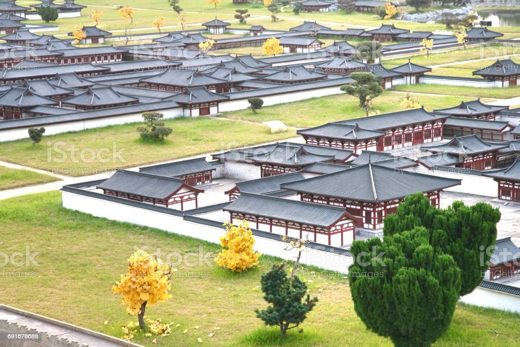 The mini old town in Daming Palace was the imperial palace complex of the Tang Dynasty, Xian China stock photo