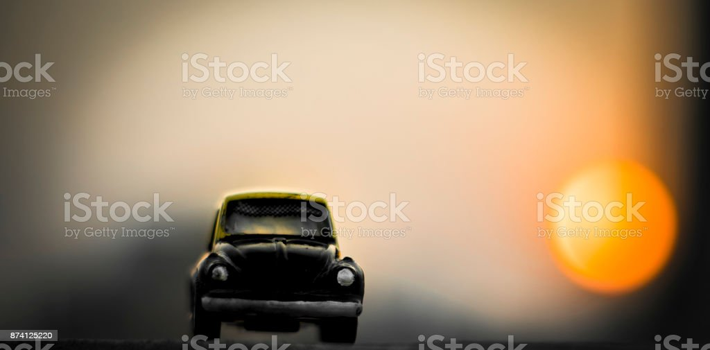 The mini Texi in a Sunset stock photo