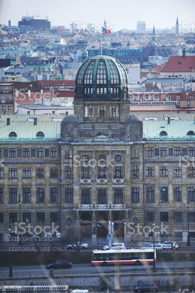 The Ministry of Industry and Trade Building in Prague. Designed by Josef Fanta. Building with Glass Dome. stock photo