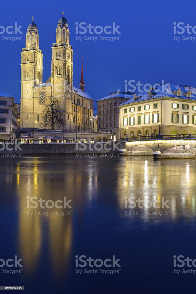 The Minster in Zurich royalty-free stock photo