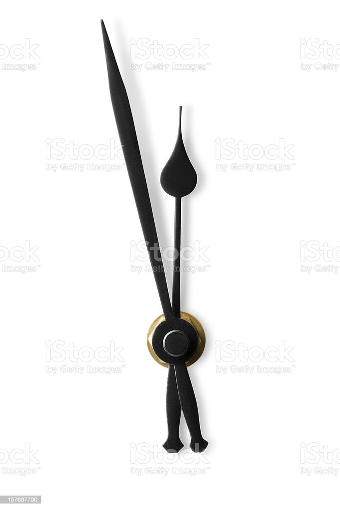 The minute and second hands of a clock face stock photo