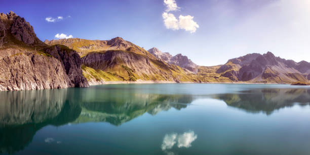 The Mirror of the Lunersee, Ausrtia stock photo