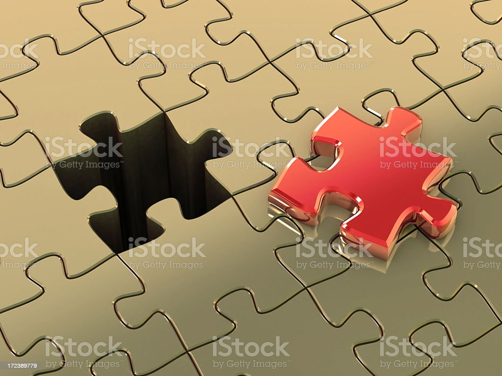 The missing jigsaw piece ready to complete the image royalty-free stock photo