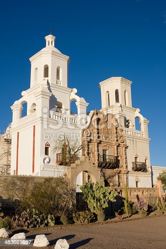 The San Xavier del Bac mission is an excellent example of 18th century mission architecture. It is currently being restored; some scaffolding is visible at the side of the building.