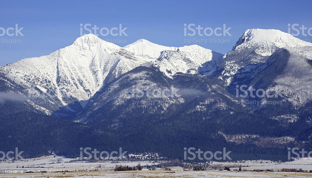 The Mission Range in Winter stock photo