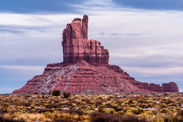 The Mitten portrait at Monument Valley stock photo