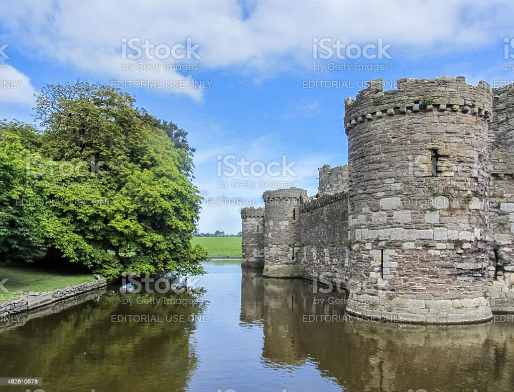 The moat of the Beaumaris Castle, in Wales stock photo
