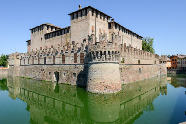 The moated castle of Rocco Santivale at Fontanellato near Parma stock photo