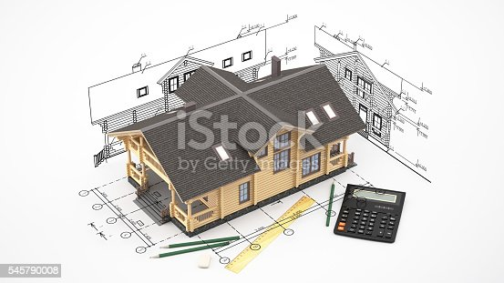 istock The model of a log house on the background drawings 545790008