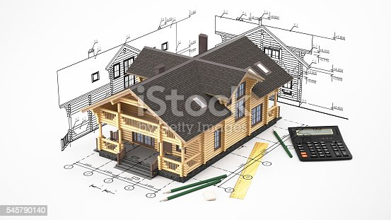 istock The model of a log house on the background drawings 545790140