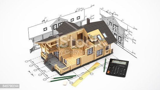 istock The model of a log house on the background drawings 545790244