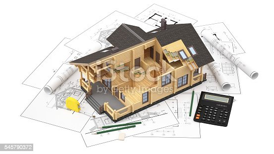 istock The model of a log house on the background drawings 545790372