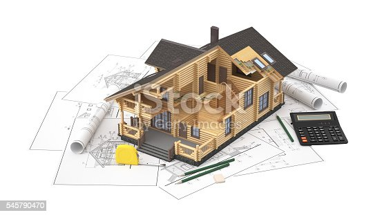 istock The model of a log house on the background drawings 545790470