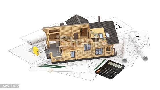 istock The model of a log house on the background drawings 545790572
