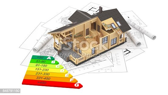 istock The model of a log house on the background drawings 545791150
