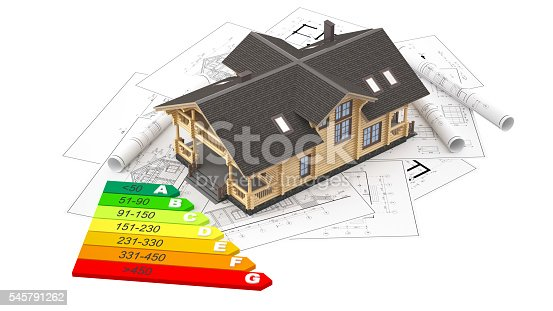 istock The model of a log house on the background drawings 545791262