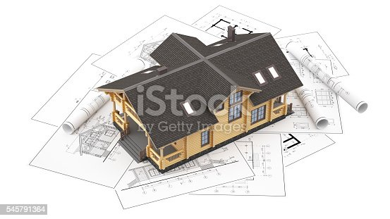 istock The model of a log house on the background drawings 545791364