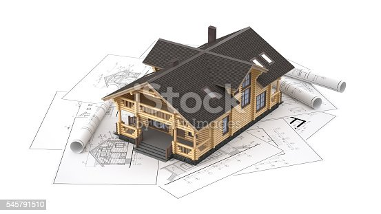 istock The model of a log house on the background drawings 545791510