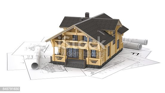 istock The model of a log house on the background drawings 545791630