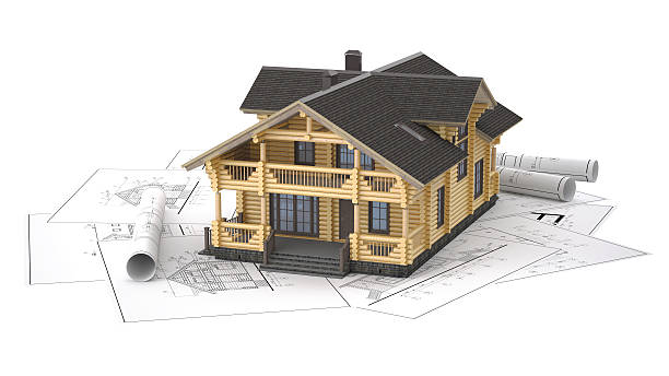 The model of a log house on the background drawings – Foto