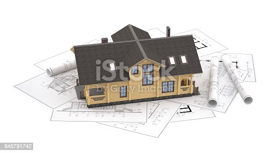 istock The model of a log house on the background drawings 545791742