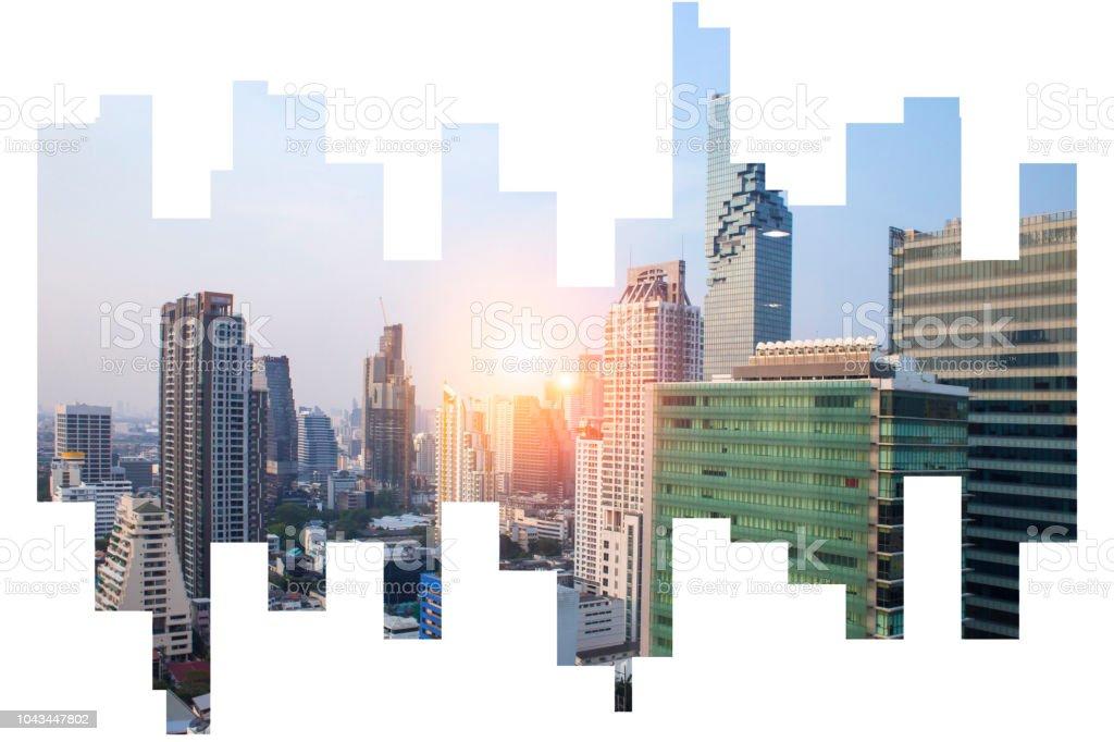 Modern inşaat Asya iş finans bölgesine ve ticari soyut şehir manzaralı Backgorund üzerinde bangkok Tayland stok fotoğrafı