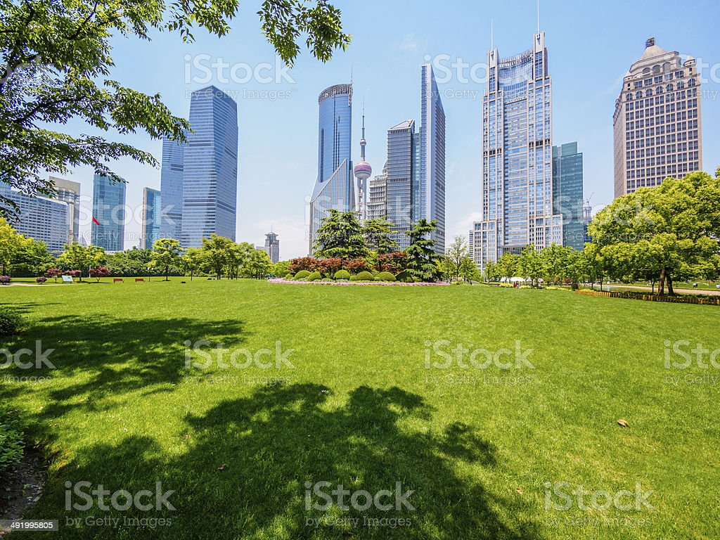 the modern building of the lujiazui financial centre in shanghai stock photo