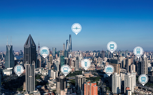 Shanghai  traffic and Vehicle icon.