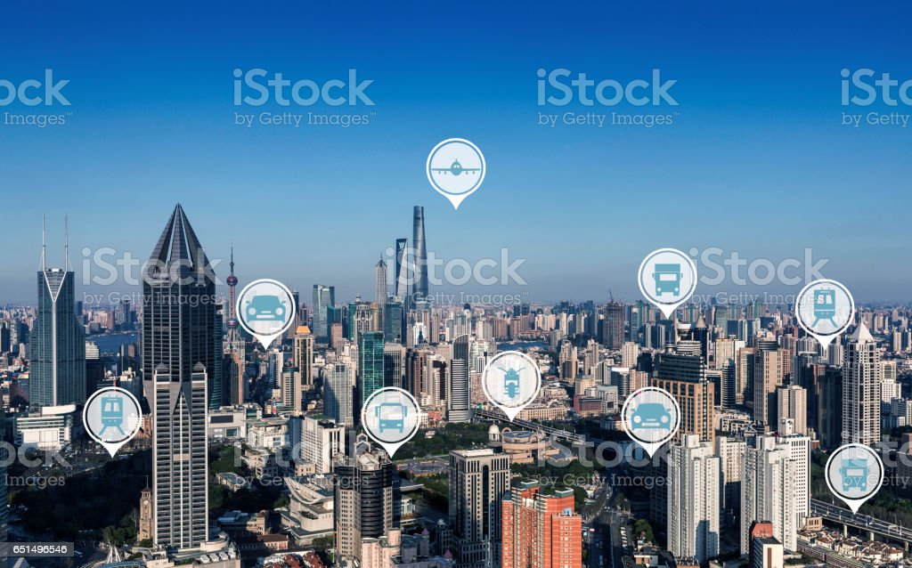 The modern city traffic stock photo