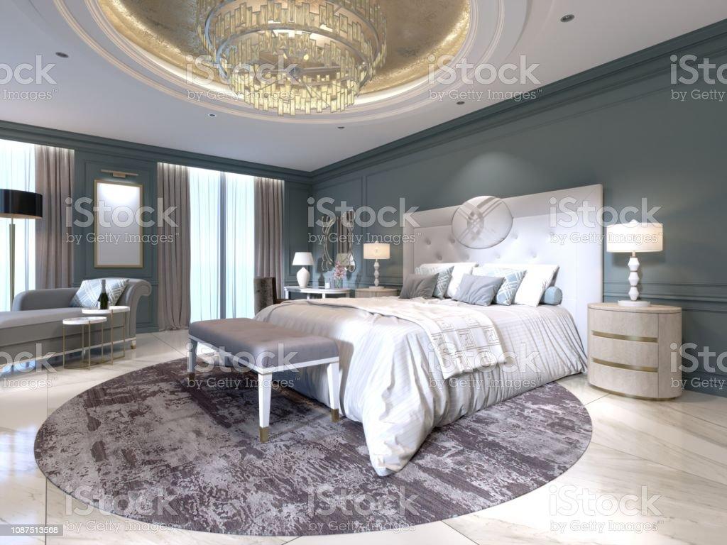 Das Moderne Design Das Schlafzimmer Mit Einem Großen Weißen Bett ...