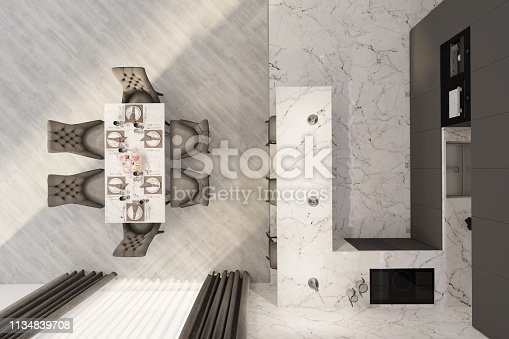 istock The modern dining room. Top view 1134839708