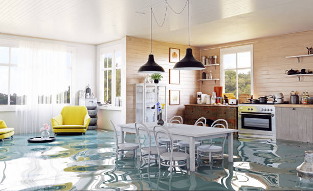 the modern home interior - flooded room stock photos and pictures