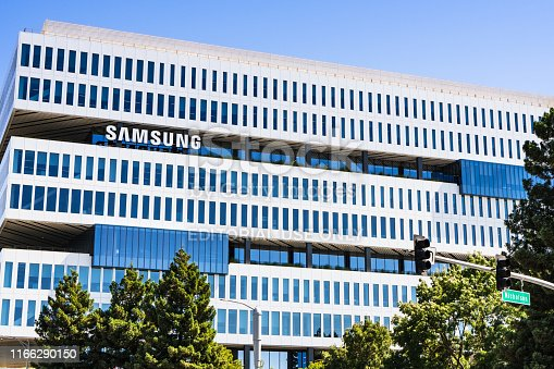 August 1, 2019 San Jose / CA / USA - The modern HQ of Samsung Electronics Device Solutions America and Samsung Semiconductor Inc, located in Silicon Valley; subsidiary of Samsung Electronics, Ltd