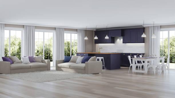 das moderne interieur des hauses mit einem dunklen lila küche. 3d-rendering. - küche lila stock-fotos und bilder