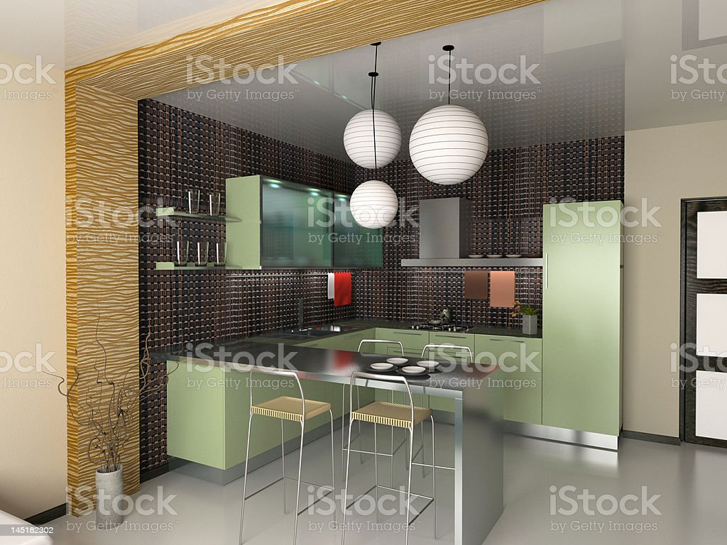 the modern kitchen royalty-free stock photo