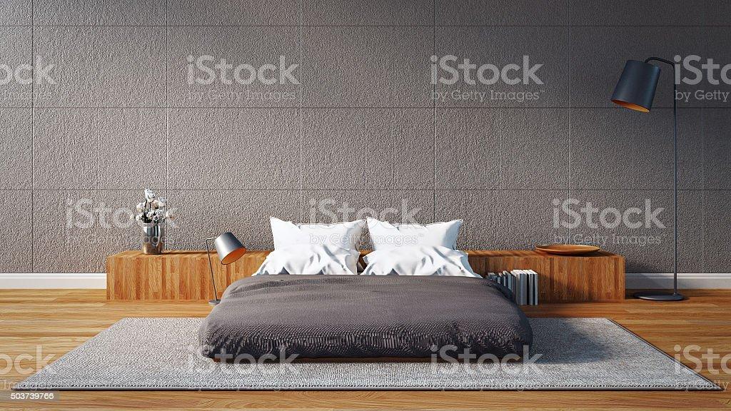 I moderni della camera da letto in stile loft fotografie stock e