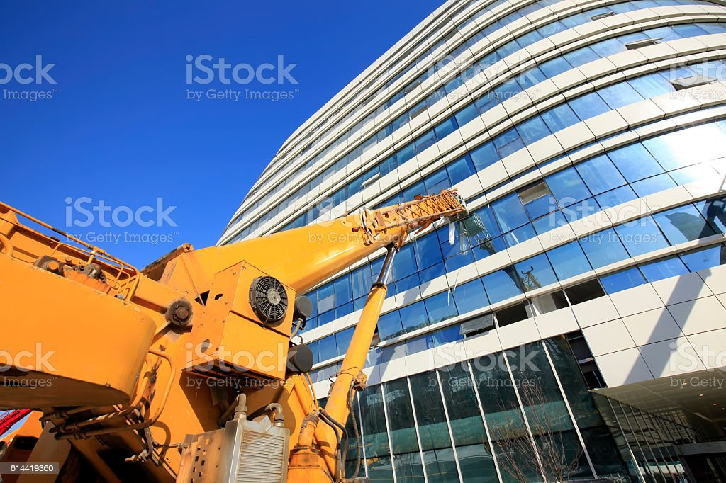 The modern office building is under construction stock photo
