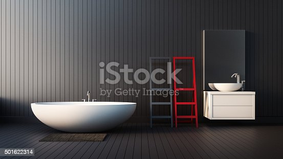 istock The modern RED-BLACK-WHITE interior of Bathroom 501622314
